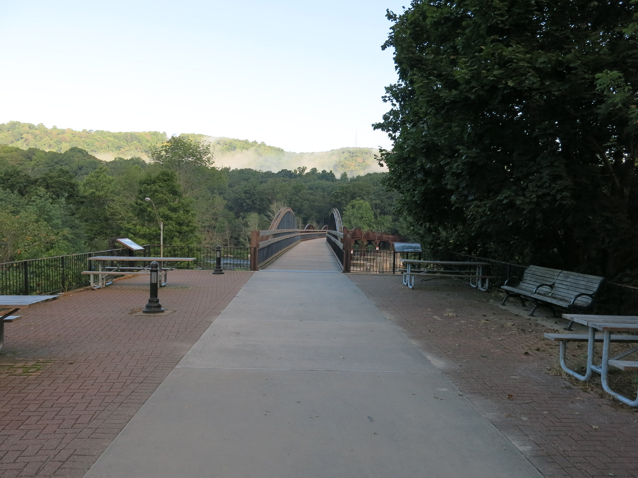 Morning of Day 2, Tuesday, August 30, 2016,  at about MP 71:  View of Low Bridge in Ohiopyle, looking north from the train station