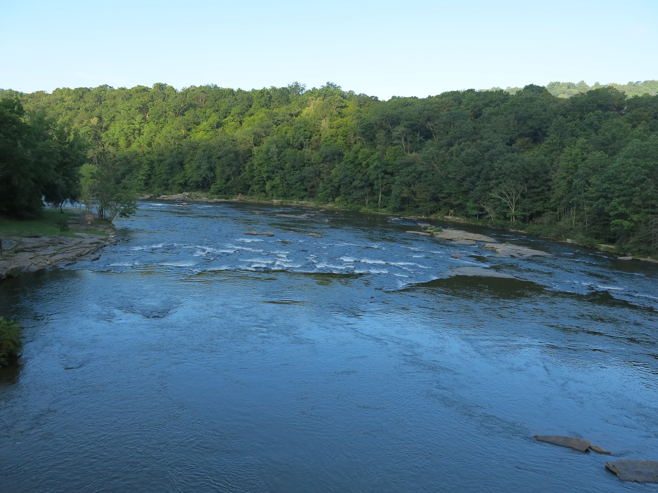 The Yough River seen from low bridge, looking downstream