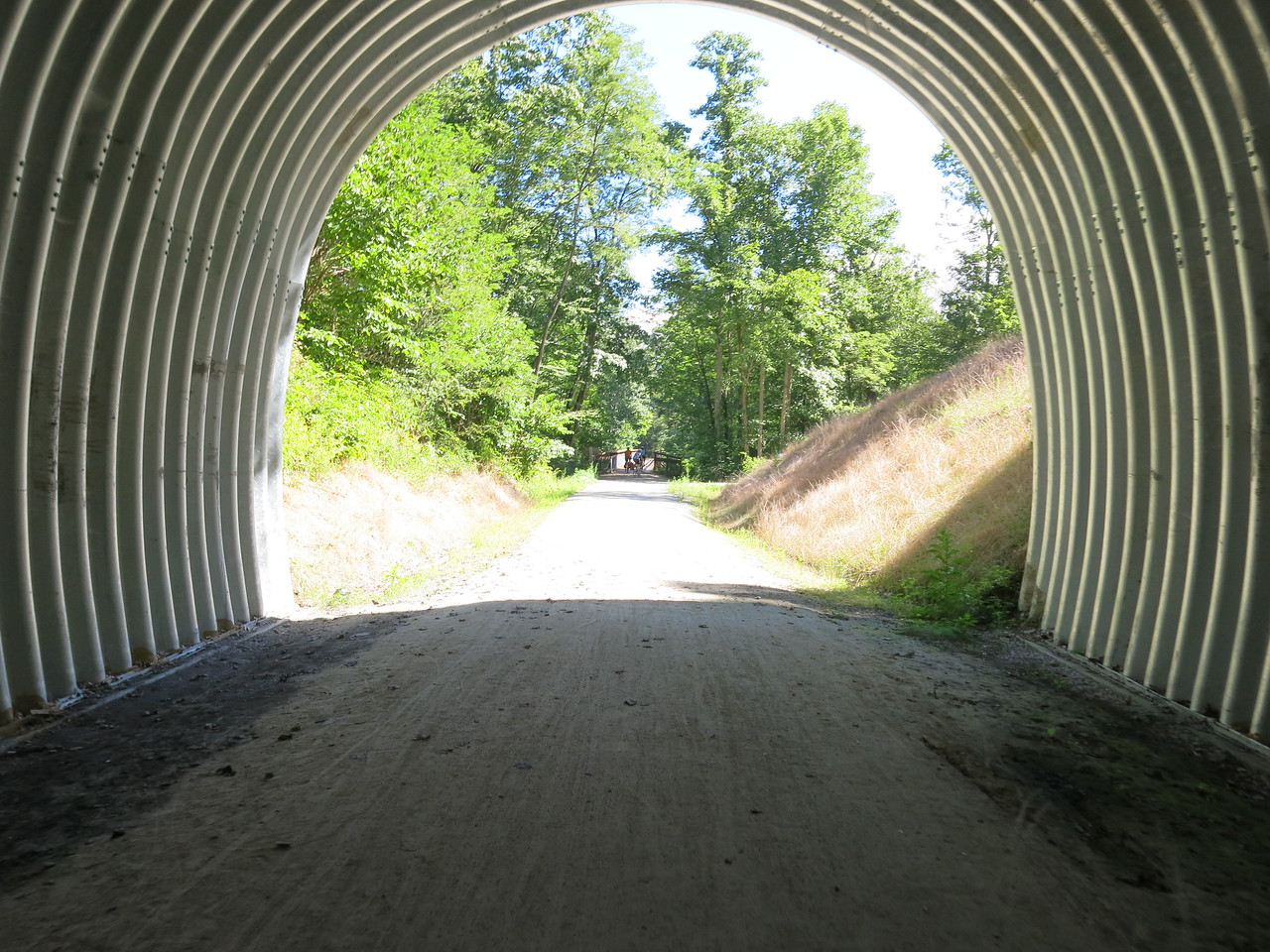Looking out the east portal of the tunnel at the Low Bridge