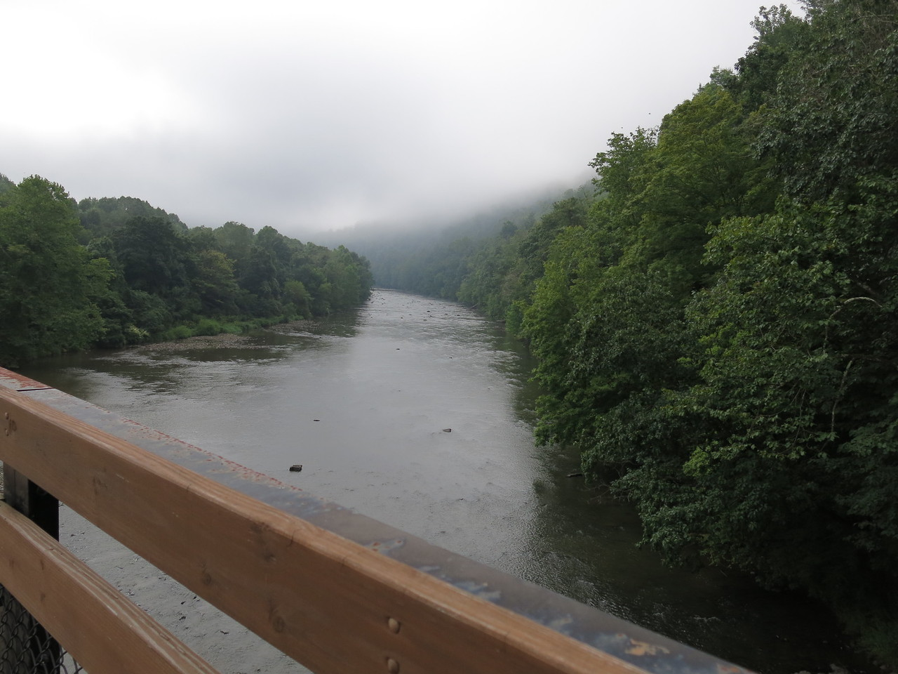 Upstream view of the Casselman River from the trail bridge near Confluence