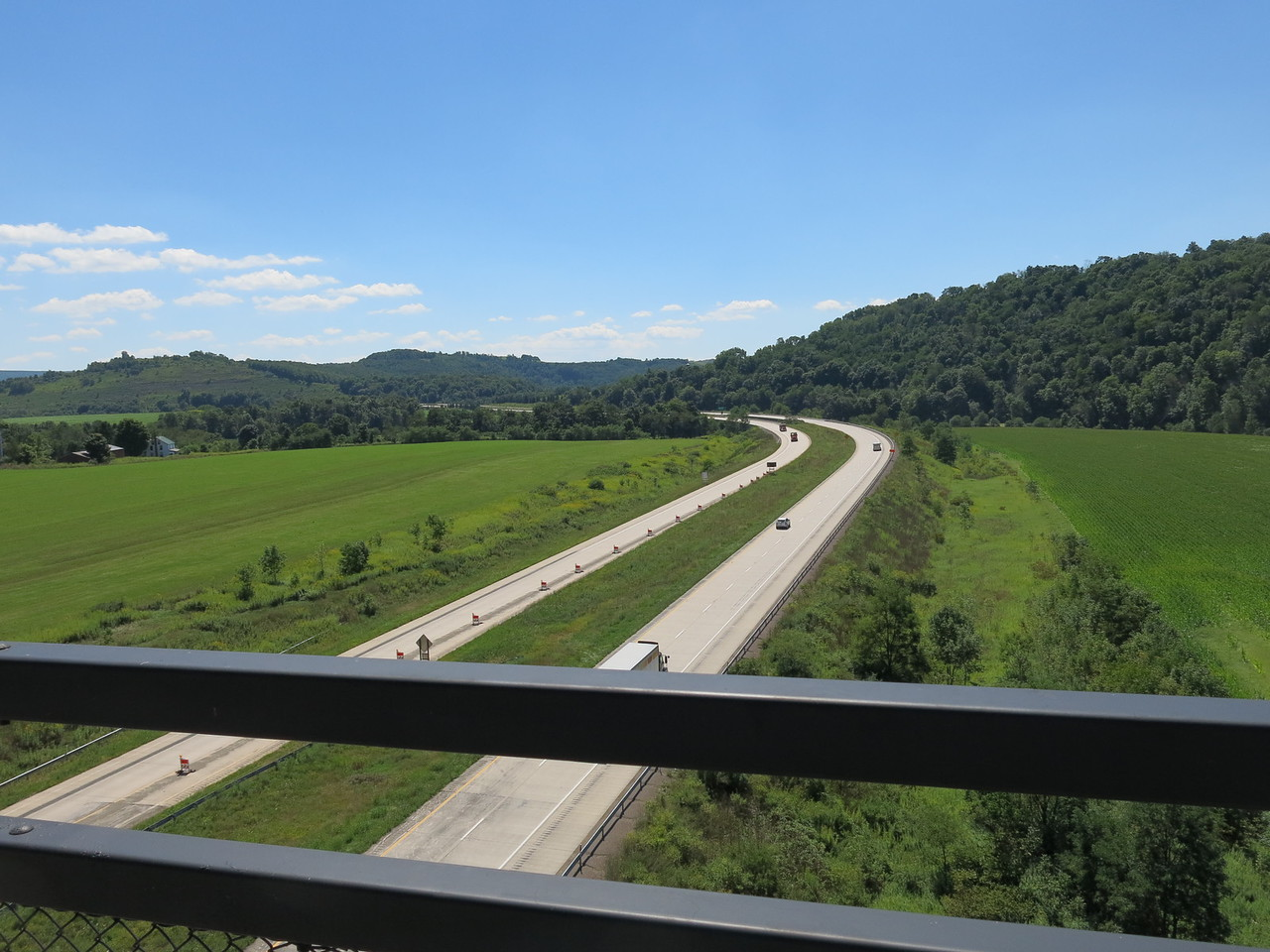 US Highway 219 in four lanes under the Salisbury Viaduct, looking south