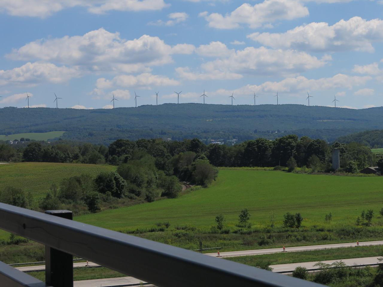 Wind mills on the ridge across the valley