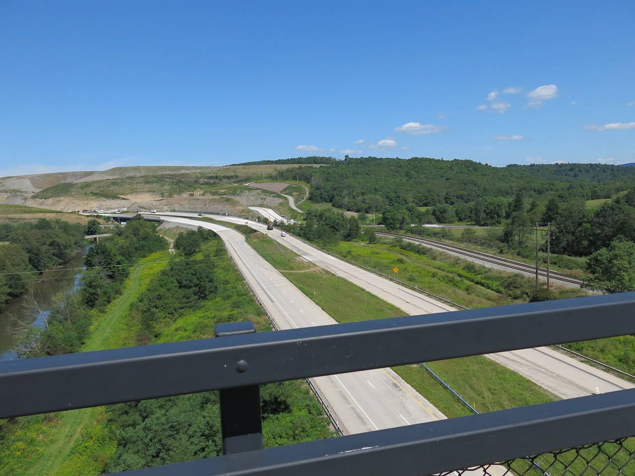 Looking north at the river, highway and rail line