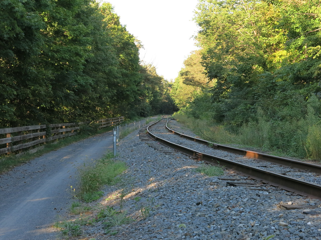The trail runs adjacent to the Western Maryland Scenic Railroad (WMSR) south of Frostburg