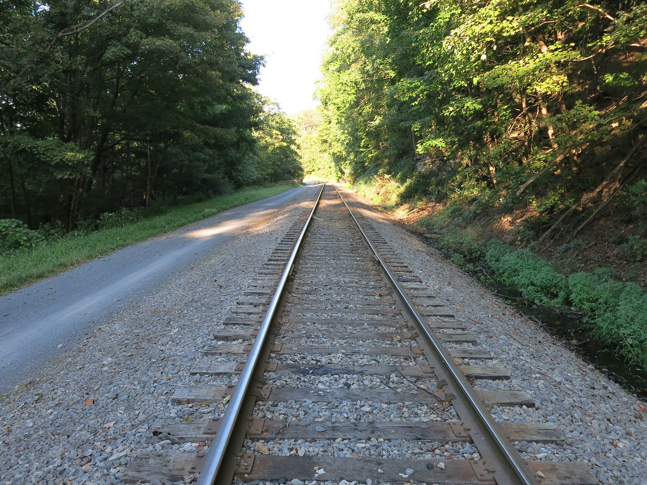 View of the rails and trail on the left