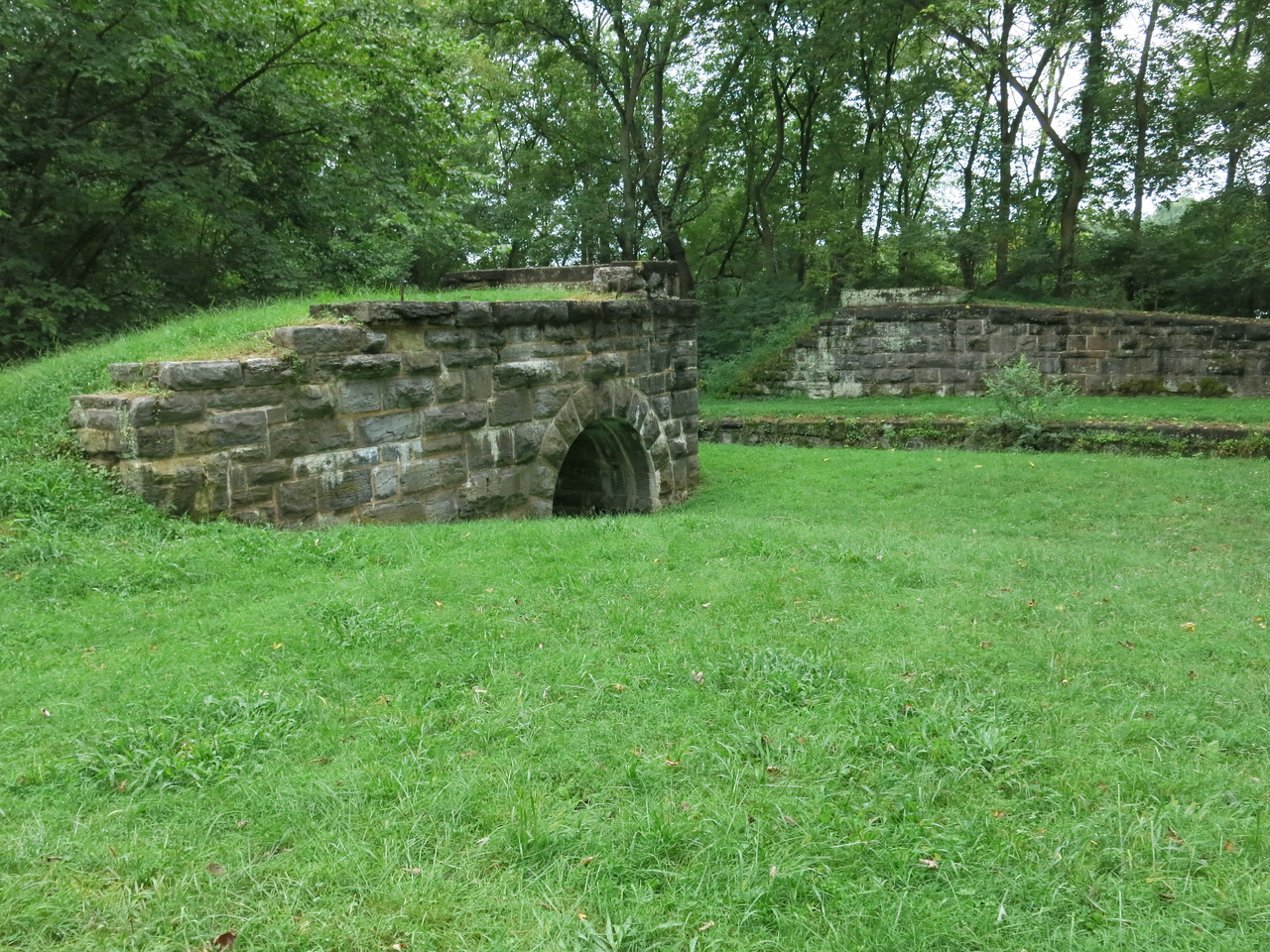 Stone abutments from a bygone bridge at Lock 46