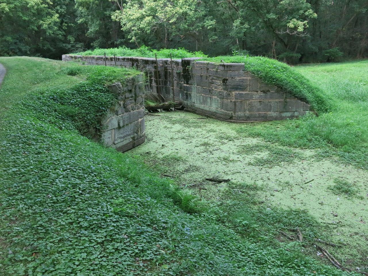 Looking back at the remnants of Lock 43 from the downstream side