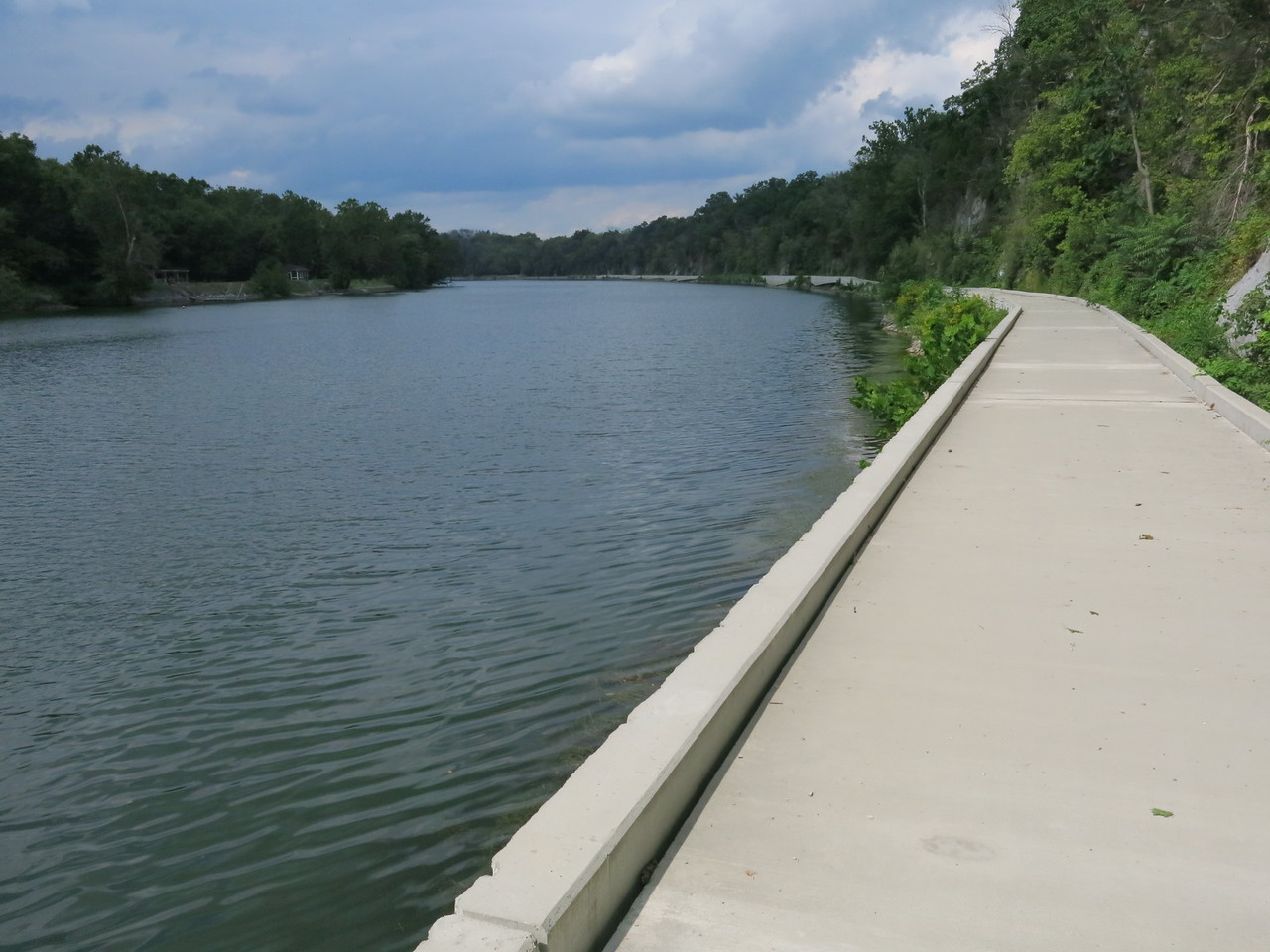 Looking back at the rebuilt towpath