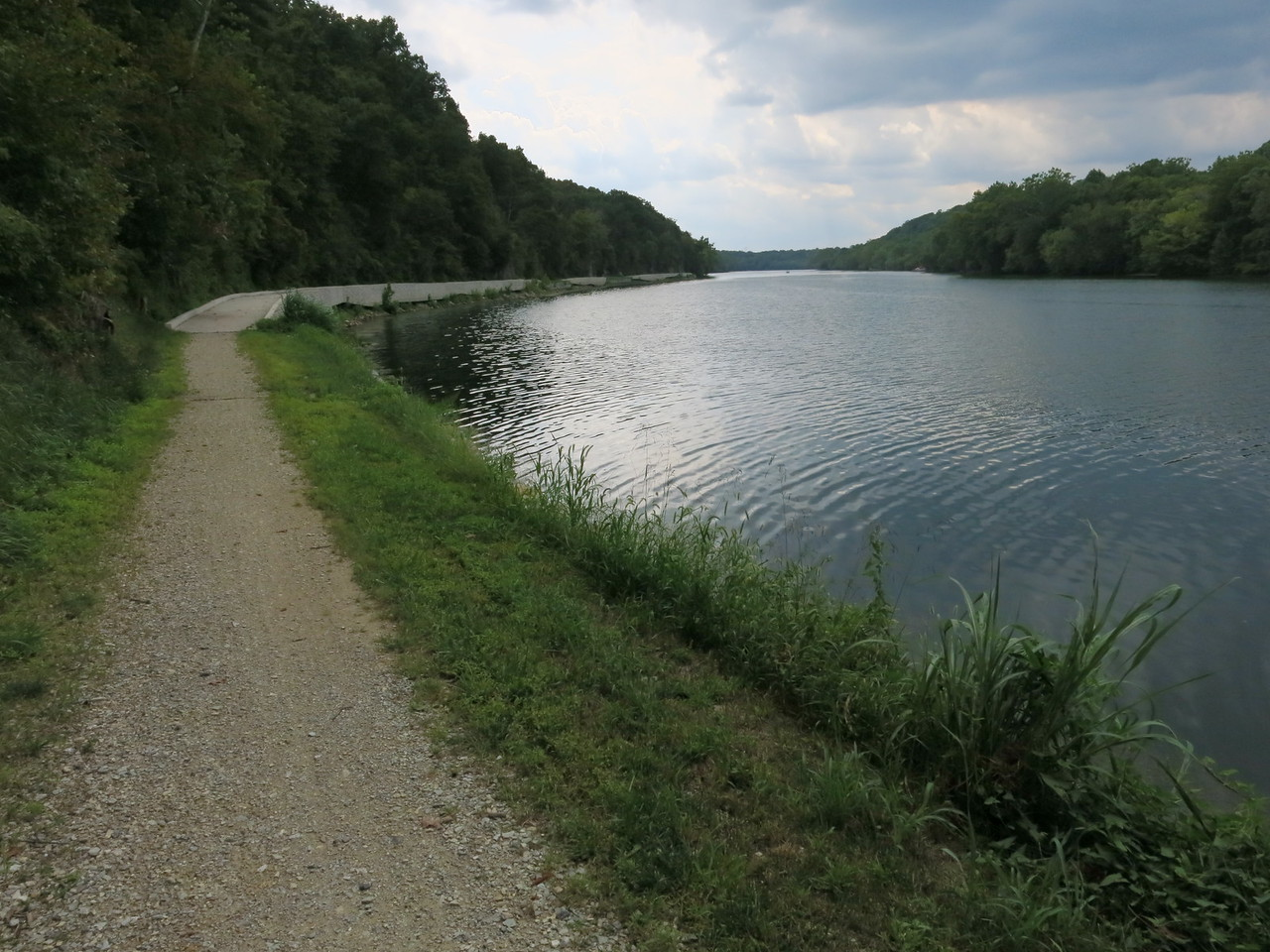River's edge and towpath in a downstream view of Big Slackwater