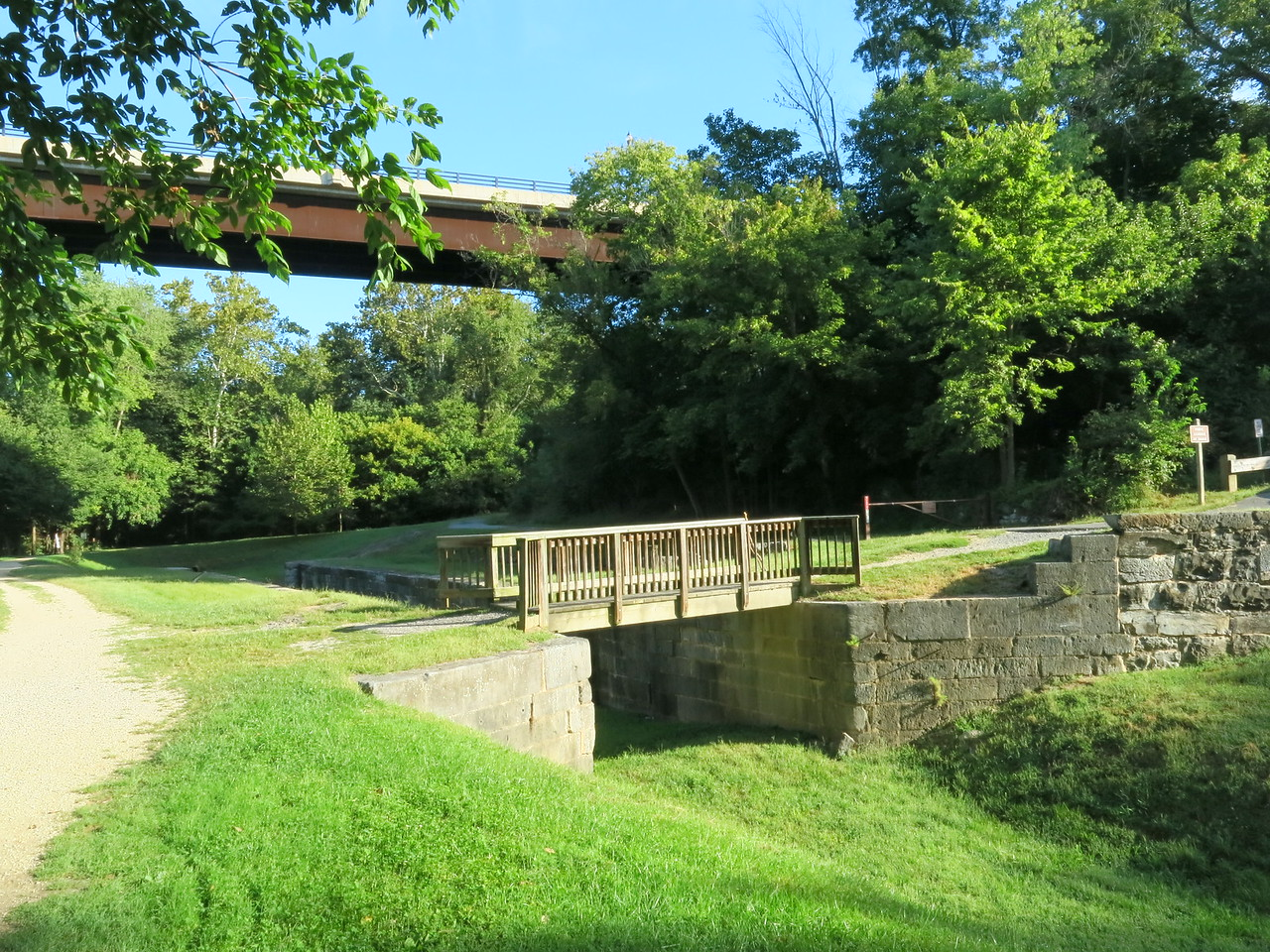 Downstream end of Lock 38 with the car bridge above