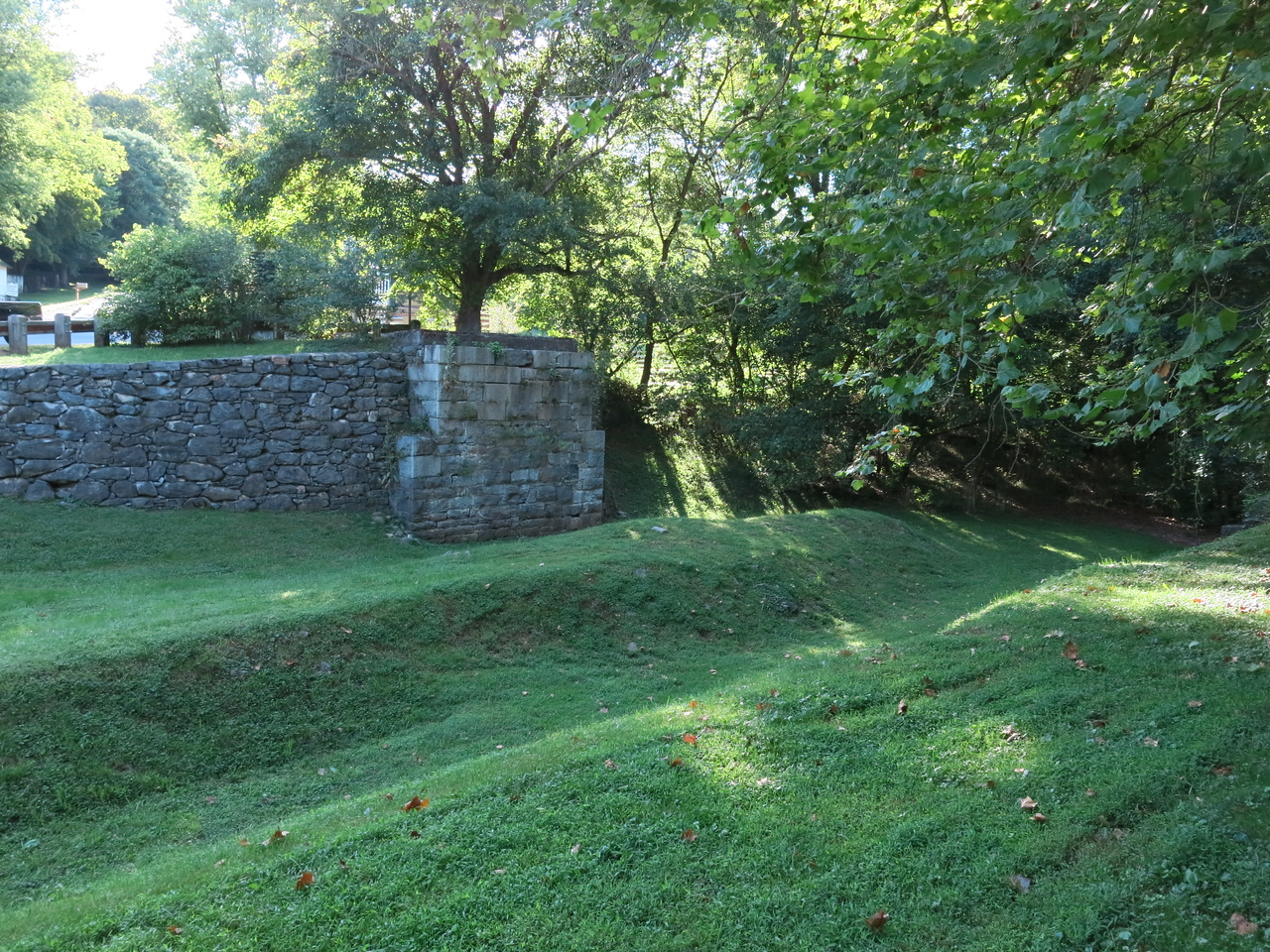 An abutment from a bygone bridge downstream from Lock 38