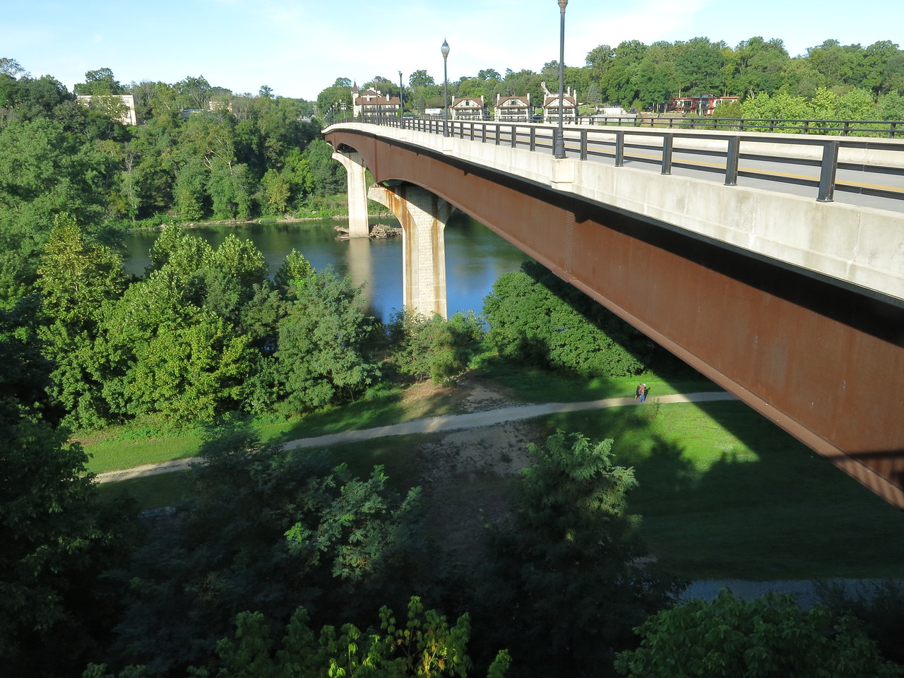 A look back at the Potomac River car bridge from the Maryland side.  The towpath is seen in the lower part of the image.