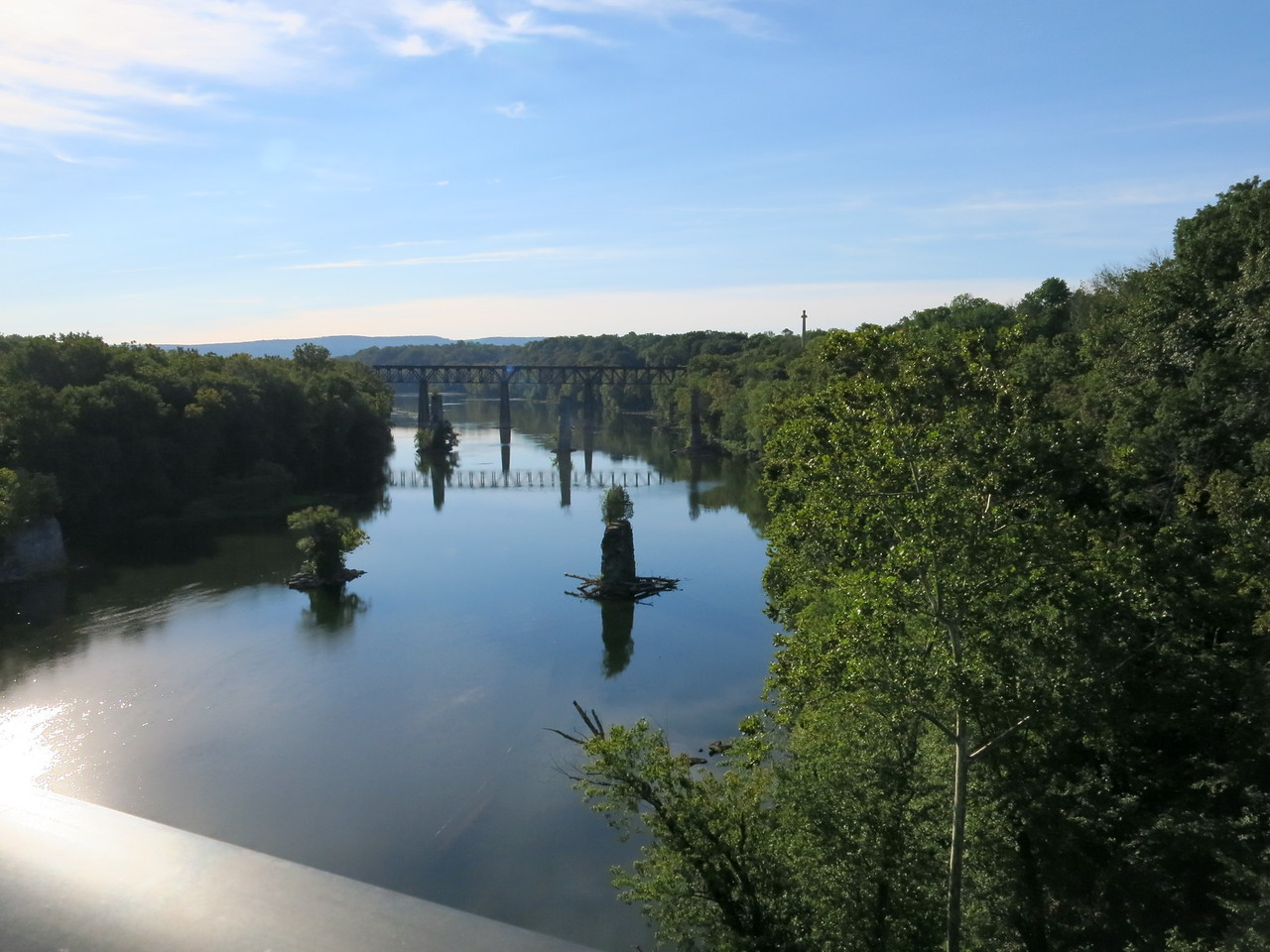 Looking downstream from the Potomac River car bridge