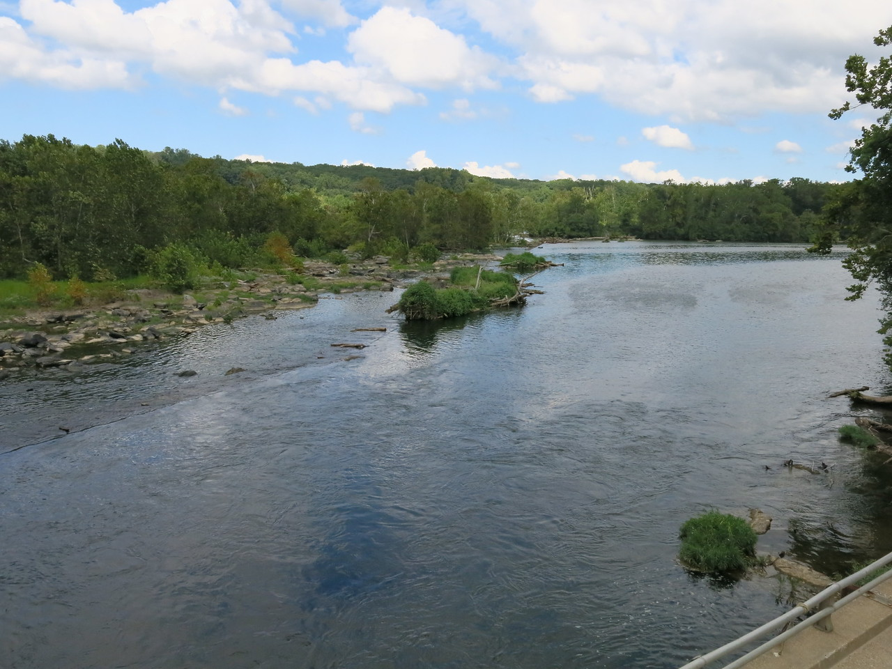 Relatively calm river above the Great Falls