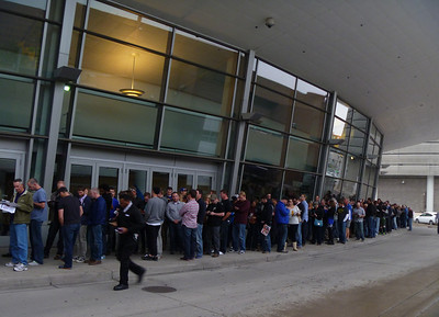 When we got there at 5:00, the line extended all the way around the back of the Convention Center...and went on way past there by the time the line started moving.