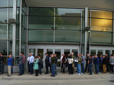 When we got there at 5:00, the line extended all the way around the back of the Convention Center