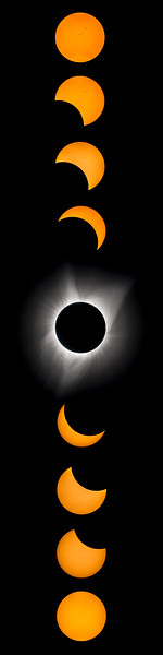 """12"""" x 48"""" montage, Great American Eclipse, August 21, 2017"""