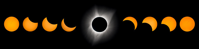 """48"""" x 12"""" montage, Great American Eclipse, August 21, 2017"""