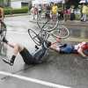 "Record-Eagle/Douglas Tesner<br /> Racers come off the turn at the corner of Sixth and Union Street in downtown Traverse City during the 2009 Cherry Roubaix bike race. Won 3rd place in the ""Sports Picture"" category of the 2010 Michigan Press Association Better Newspapers Contest."