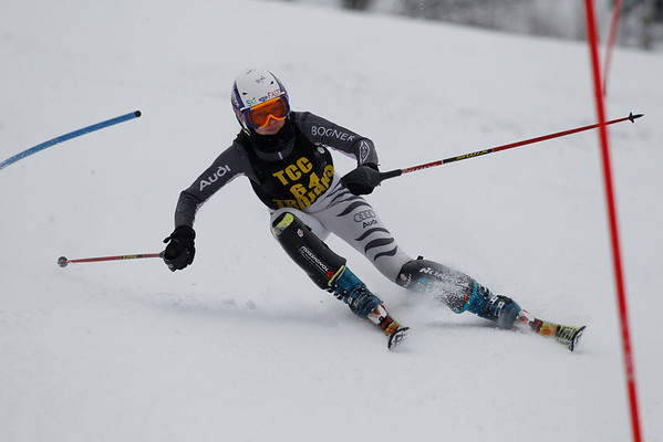 Record-Eagle/Jan-Michael Stump<br /> Traverse City Central's Mallory Weaver takes her first slalom run during the Traverse City West Ski Invitational Tuesday at Crystal Mountain Resort and Spa in Thompsonville.