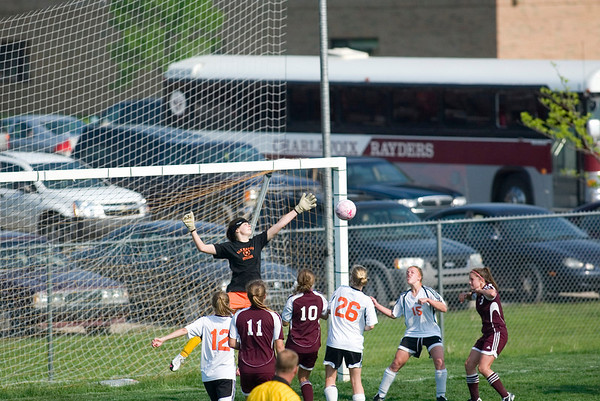 Record-Eagle/Jan-Michael Stump<br /> Elk Rapids goalkeeper Maggie Marshall makes a save during Monday's game against. Charlevoix.
