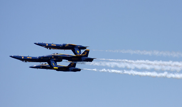 Record-Eagle/Keith King<br /> The U.S. Navy Blue Angels fly in formation over West Grand Traverse Bay Saturday during the National Cherry Festival Air Show.