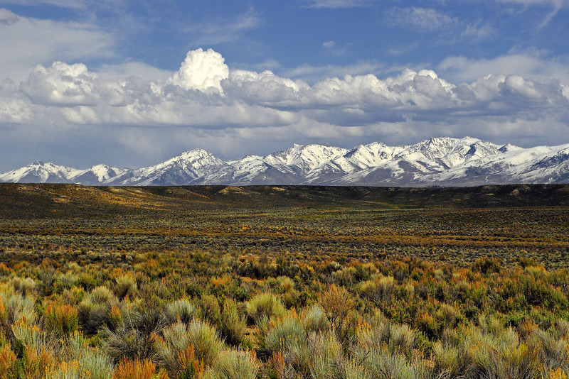 The Ruby Mountains are thrust high above the basin from extensional block faulting and are part of a sea of endless mountain ranges and basins that stretch across the Great Basin, Ruby Valley, NV edit