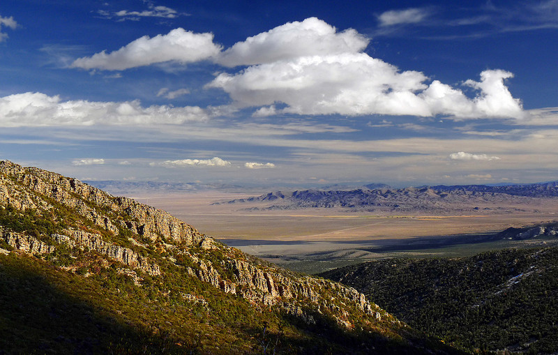 Basin and Range Block Faulting: A sea of endless mountain ranges and basins created as the continental crust extended causing major block faulting throughout the Great Basin. A view from Great Basin National Park, NV