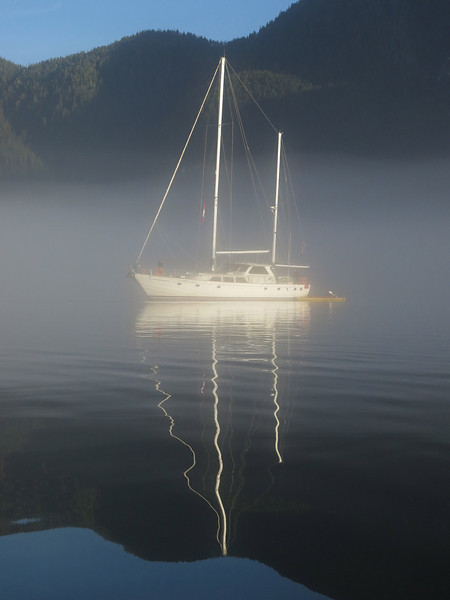 The Island Odyssey in the morning mist of Khutze Inlet