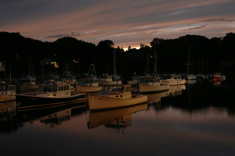 Twilight descends on the fishing fleet- Perkins Cove