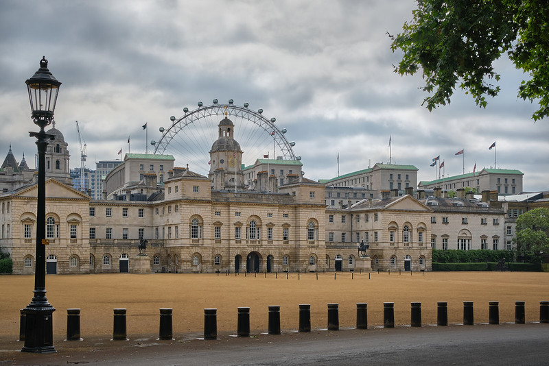 Horse Guards Building with Ferris Wheel on Background