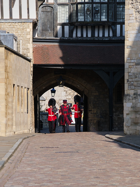 Beereater and Guards in Tower of London