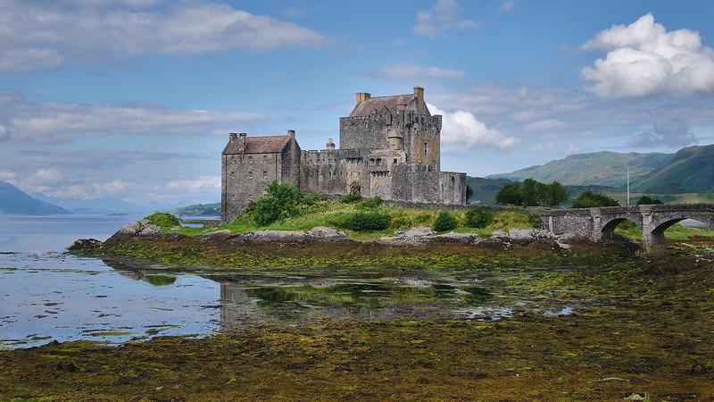 Eilean Donan Castle Connected to Isle of Skye During Low Tide