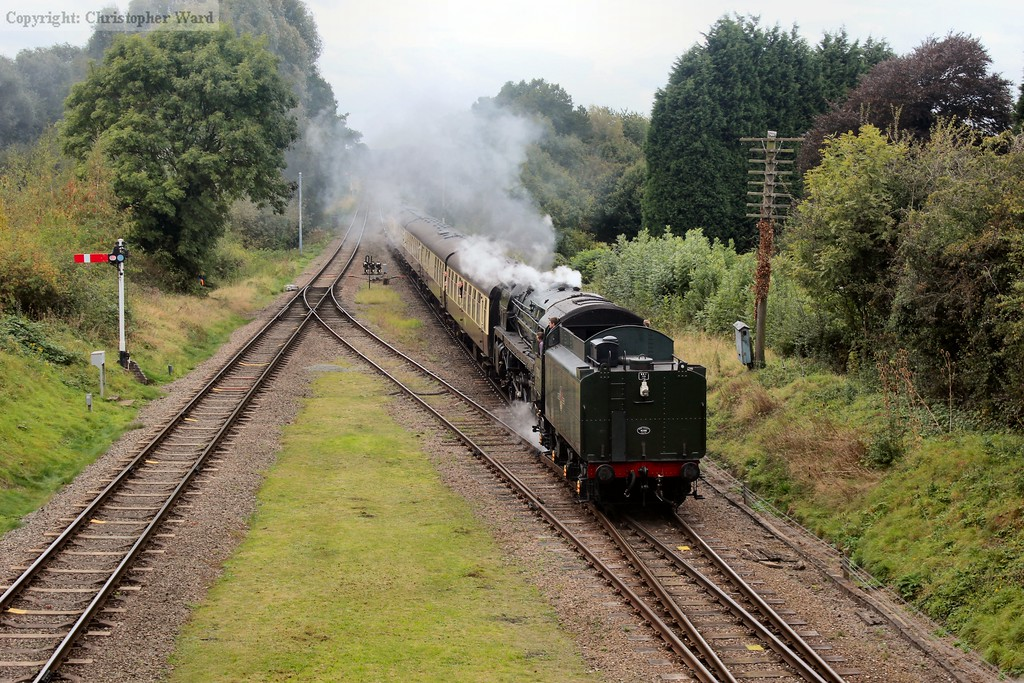 Oliver Cromwell, the only locomotive in the line-up to face Loughborough, brings in a train