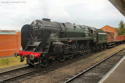 The 9F prepares to take another freight working, this time a mixed freight, up the line