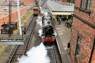 The 8F prepares to take the mineral wagons back to Swithland for berthing