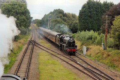 45305 approaches Quorn as the Standard 2MT waits to head for Loughborough