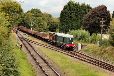 The 20 brings the mixed freight train into Quorn