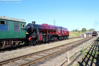 The 8F slows on the approach to the station