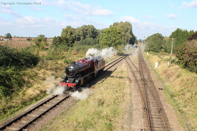 The 8F waits at the signal to return to Loughborough