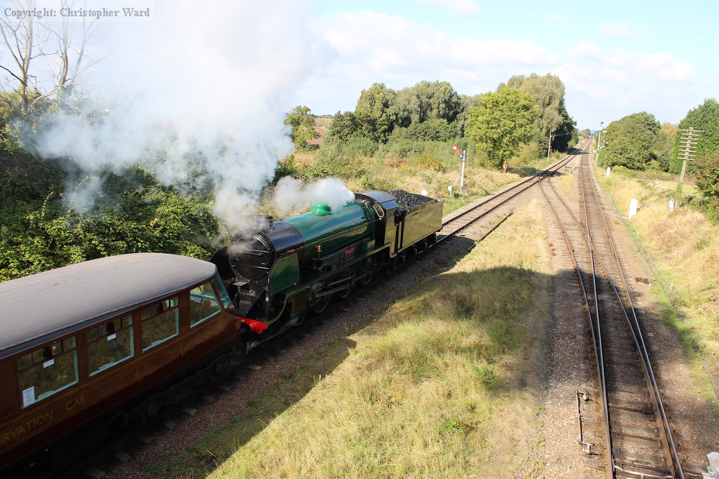 Sir Lamiel pulls away from the station with a Loughborough train
