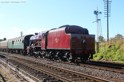 48624, in her very handsome LMS style red livery, approaches Quorn from the south