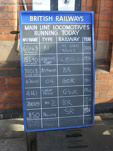 The running board at Loughborough, note the difference in dates