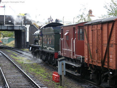 Pitchford Hall leaves with the mixed goods train in tow