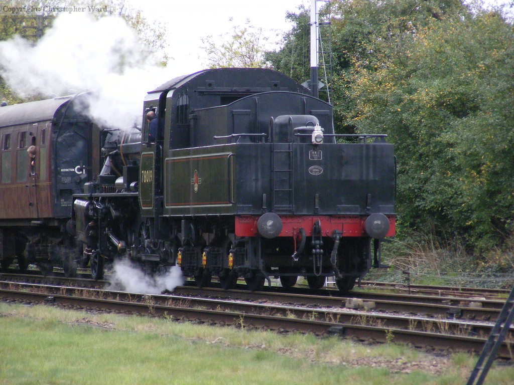78019 runs into Quorn and Woodhouse with a Loughborough train