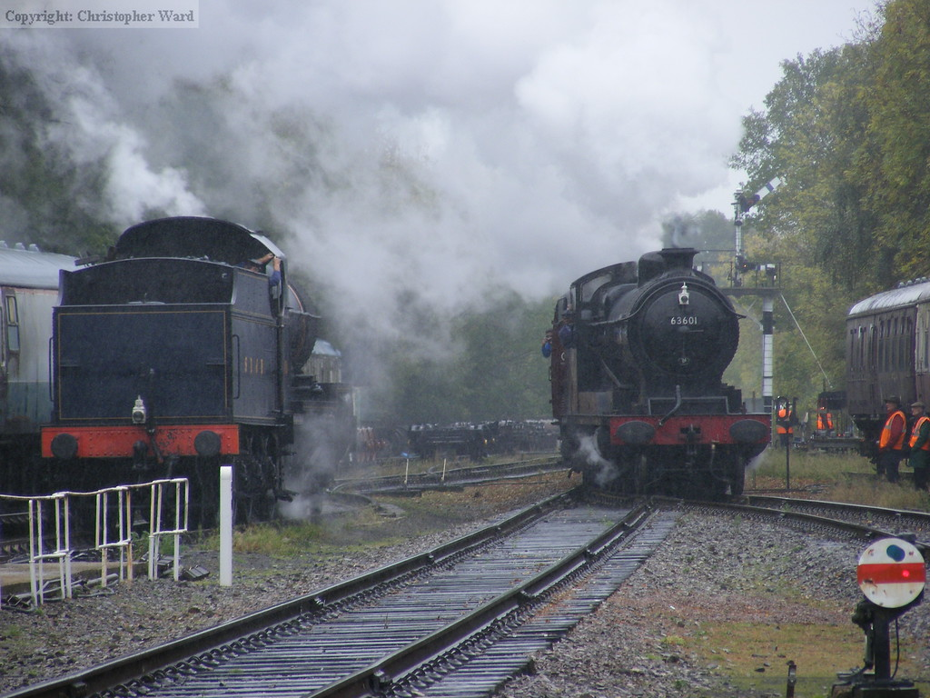 The two heavy freight engines pass at Rothley