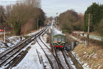 The DMU with a Rothley train