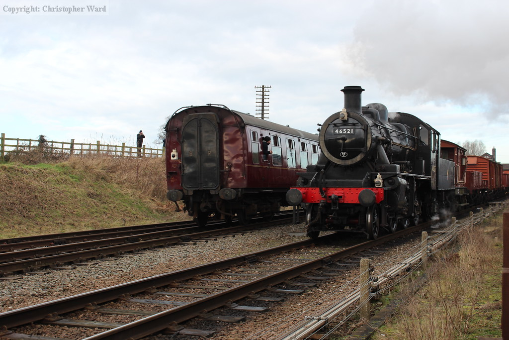 The Ivatt on the freight rolls past the end of the passenger working