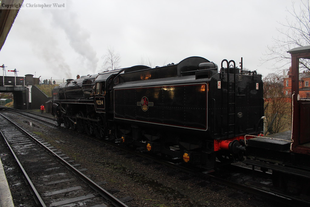 The unusual lined black livery on the 9F