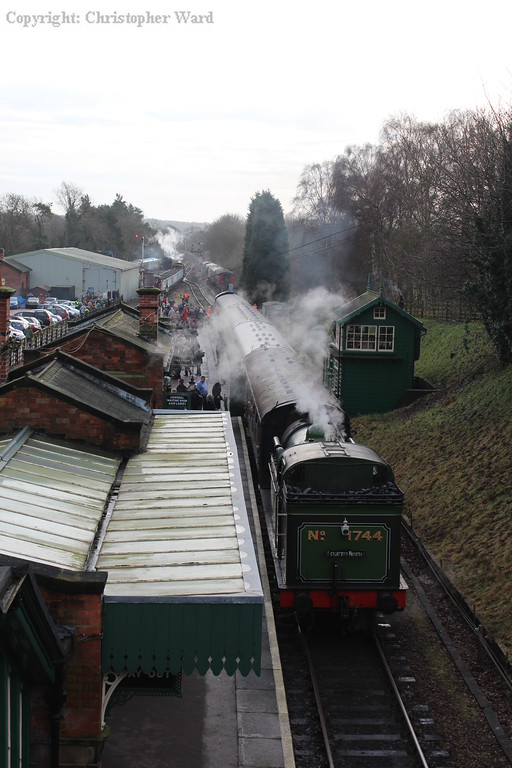 The GNR tank at the northern end of the local train, while in the background the 8F takes the mineral train through to Rothley brook